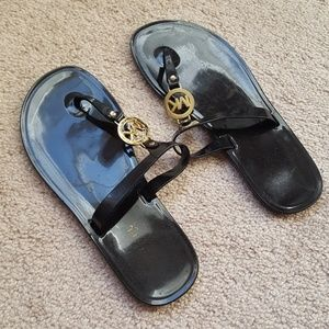 Michael Kors Brown Sandals Gold Logo